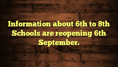 Information about 6th to 8th Schools are reopening 6th September.