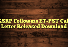 KSRP Followers ET-PST Call Letter Released Download